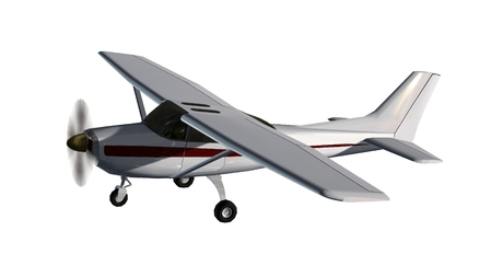 most popular light aircraft ever built with single propeller Isolated on a white background