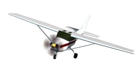 border patrol: most popular light aircraft ever built with single propeller Isolated on a white background