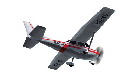 light aircraft: most popular light aircraft ever with single propeller Isolated on a white background Stock Photo
