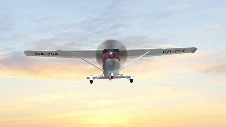 light aircraft: most popular light aircraft ever with single propeller fly in sunset