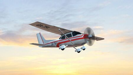 most popular light aircraft ever with single propeller fly in sunset