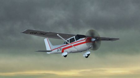 border patrol: most popular light aircraft ever with single propeller fly in thunderstorms Stock Photo