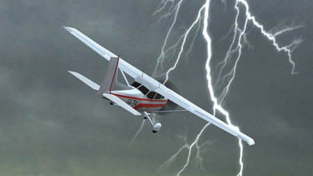 ever: most popular light aircraft ever with single propeller fly in thunderstorms Stock Photo