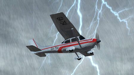 light aircraft: most popular light aircraft ever with single propeller fly in thunderstorms Stock Photo