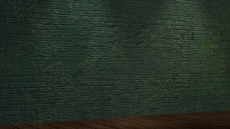illuminated: green Brickwall illuminated by spotlights Stock Photo