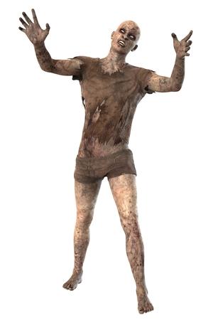walking corpse: Zombie isolated on white background Stock Photo