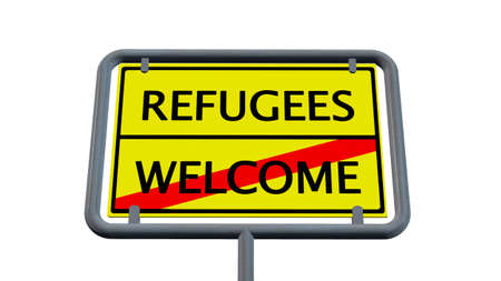 humane: Refugees welcome sign - isolated on white background