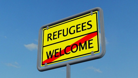 humane: Refugees welcome sign