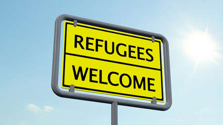 asylum: Refugees welcome sign