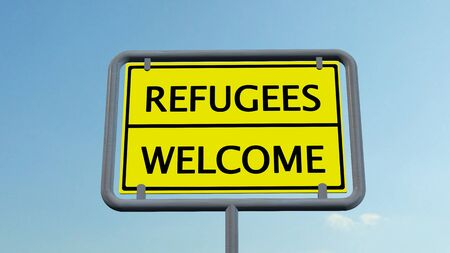 acogida: Refugiados bienvenida signo Foto de archivo