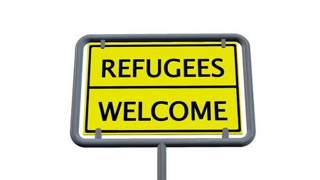 immigrant: Refugees welcome sign - isolated on white background