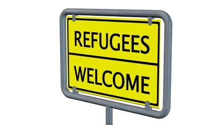 migrant: Refugees welcome sign - isolated on white background