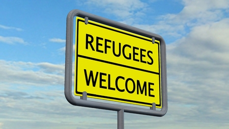 immigrant: Refugees welcome sign