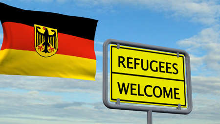 migrant: Refugees welcome sign in front of Germany flag Stock Photo