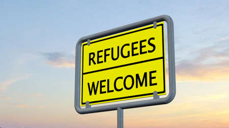 refugees: Refugees welcome sign