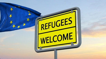 humane: Refugees welcome sign in front of EU flag