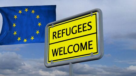 immigrant: Refugees welcome sign in front of EU flag