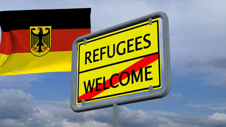 immigrant: Refugees welcome sign in front of Germany flag Stock Photo