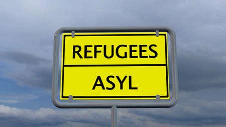 asylum: Refugees asylum sign Stock Photo