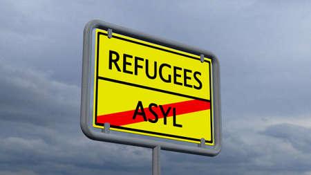 humane: Refugees asylum sign Stock Photo