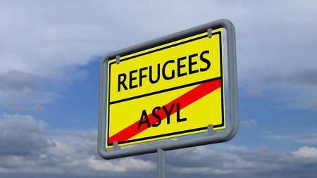 international crisis: Refugees asylum sign Stock Photo