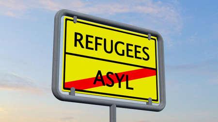 immigrant: Refugees asylum sign Stock Photo