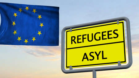 asylum: Refugees asylum sign in front of EU flag Stock Photo