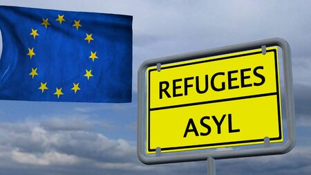 humane: Refugees asylum sign in front of EU flag Stock Photo