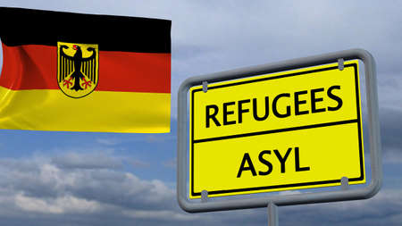 asylum: Refugees asylum sign in front of Germany flag