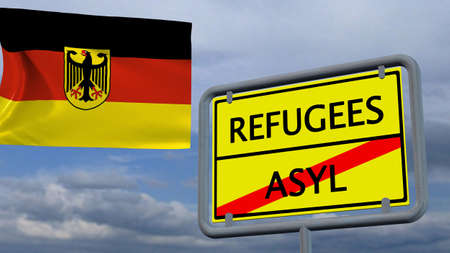humane: Refugees asylum sign in front of Germany flag