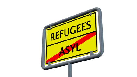 humane: Refugees asylum sign - isolated on white background Stock Photo