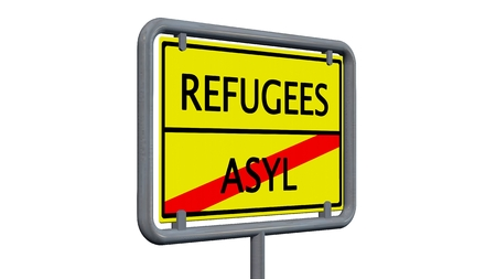 refugees: Refugees asylum sign - isolated on white background Stock Photo