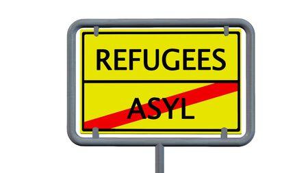 international crisis: Refugees asylum sign - isolated on white background Stock Photo