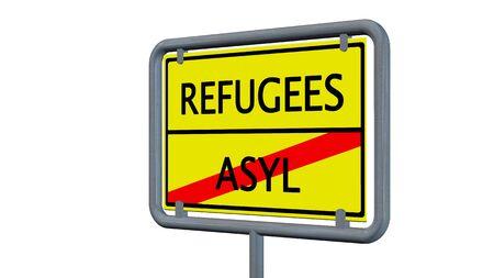 asylum: Refugees asylum sign - isolated on white background Stock Photo