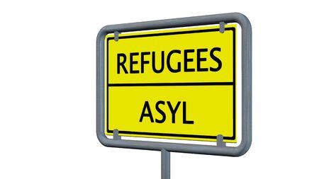 immigrant: Refugees asylum sign - isolated on white background Stock Photo
