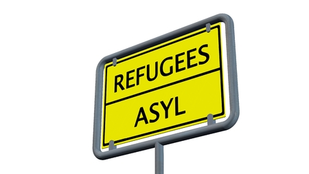 immigrant: Refugees asylum sign - isolated on white background Stock Photo