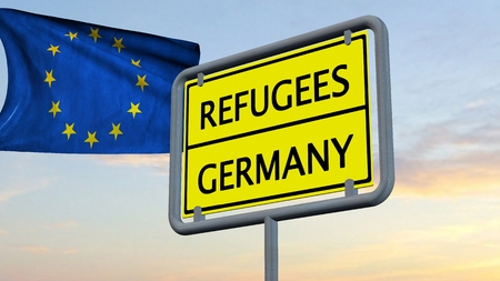 humane: Refugees Germany sign in front of EU flag