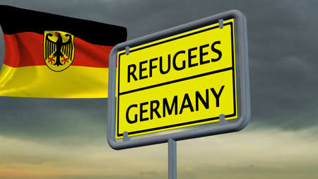 humane: Refugees Germany sign in front of Germany flag Stock Photo
