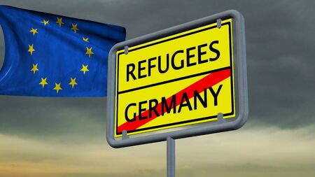 immigrant: Refugees Germany sign in front of EU flag