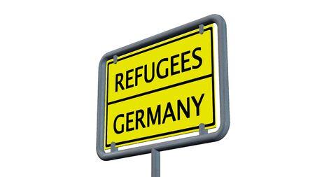 international crisis: Refugees Germany sign - isolated on white background