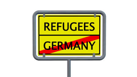 immigrant: Refugees Germany sign - isolated on white background