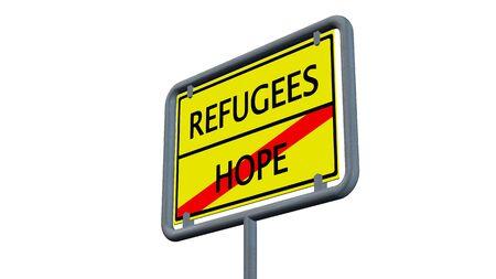 humane: Refugees Hope sign - isolated on white background
