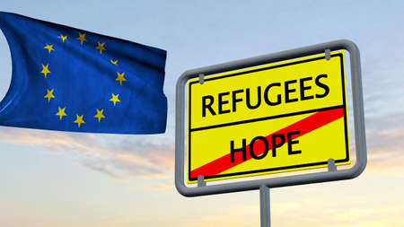 humane: Refugees Hope sign in front of EU flag Stock Photo