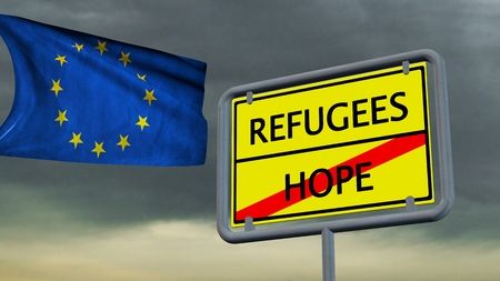 immigrant: Refugees Hope sign in front of EU flag Stock Photo