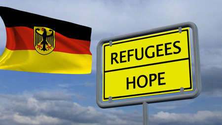humane: Refugees Hope sign in front of Germany flag Stock Photo