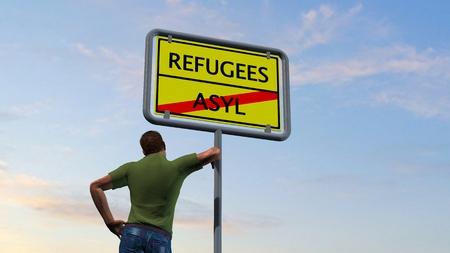 humane: Man next Refugees asylum sign