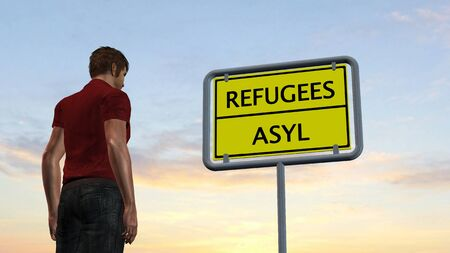 immigrant: young man in front of Refugees Asylum Sign