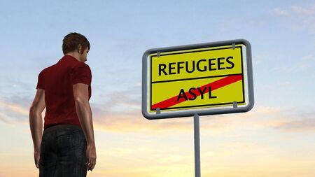 asylum: young man in front of Refugees Asylum Sign