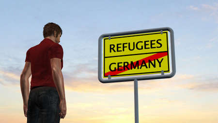 immigrant: young man in front of Refugees Germany Sign