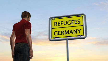 asylum: young man in front of Refugees Germany Sign